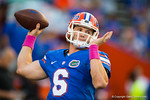 Florida Gators quarterback Jeff Driskel throwing during pre-game warmups.  Florida Gators vs LSU Tigers.  October 11th, 2014. Gator Country photo by David Bowie.