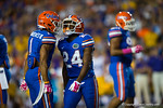 Florida Gators defensive back Vernon Hargreaves, III and Florida Gators defensive back Brian Poole celebrate after a thrid down stop during the first quarter.  Florida Gators vs LSU Tigers.  October 11th, 2014. Gator Country photo by David Bowie.