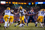 LSU Tigers quarterback Anthony Jennings turns to hand the ball off during the fourth quarter.  Florida Gators vs LSU Tigers.  October 11th, 2014. Gator Country photo by David Bowie.