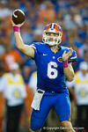 Florida Gators quarterback Jeff Driskel throws downfield during the third quarter.  Florida Gators vs LSU Tigers.  October 11th, 2014. Gator Country photo by David Bowie.