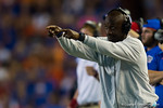 Florida Gators tight ends coach Derek Lewis signals to his players during the second quarter.  Florida Gators vs LSU Tigers.  October 11th, 2014. Gator Country photo by David Bowie.