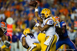 LSU Tigers quarterback Anthony Jennings throws downfield during the first quarter.  Florida Gators vs LSU Tigers.  October 11th, 2014. Gator Country photo by David Bowie.