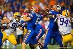 Florida Gators quarterback Jeff Driskel throws downfield in what would be an interception during the second quarter.  Florida Gators vs LSU Tigers.  October 11th, 2014. Gator Country photo by David Bowie.