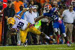 LSU Tigers fullback Melvin Jones makes the catch over Florida Gators defensive back Keanu Neal during the second half.  Florida Gators vs LSU Tigers.  October 11th, 2014. Gator Country photo by David Bowie.