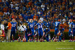 The Florida Gators sideline takes a knee while the medical staff tends to Florida Gators wide receiver Latroy PittmanFlorida Gators vs LSU Tigers.  October 11th, 2014. Gator Country photo by David Bowie.