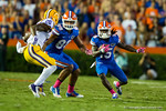 Florida Gators running back Brandon Powell sprints downfield during the fourth quarter.  Florida Gators vs LSU Tigers.  October 11th, 2014. Gator Country photo by David Bowie.
