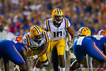 LSU Tigers quarterback Anthony Jennings calls out the play at the line during the second quarter.  Florida Gators vs LSU Tigers.  October 11th, 2014. Gator Country photo by David Bowie.