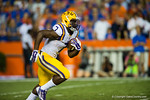 LSU Tigers running back Leonard Fournette receives the kickoff and sprints upfield during the second quarter.  Florida Gators vs LSU Tigers.  October 11th, 2014. Gator Country photo by David Bowie.