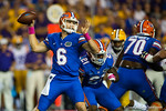 Florida Gators quarterback Jeff Driskel throws downfield during the first quarter.  Florida Gators vs LSU Tigers.  October 11th, 2014. Gator Country photo by David Bowie.