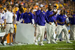 LSU Tigers head coach Les Miles on the sideline during the third quarter.  Florida Gators vs LSU Tigers.  October 11th, 2014. Gator Country photo by David Bowie.