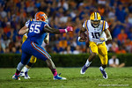 LSU Tigers quarterback Antony Jennings rushes downfield during the third quarter.  Florida Gators vs LSU Tigers.  October 11th, 2014. Gator Country photo by David Bowie.