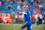 Florida Gators quarterback Will Grier throws a shovel pass during pre-game warmups.  Florida Gators vs LSU Tigers.  October 11th, 2014. Gator Country photo by David Bowie.