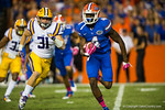 Florida Gators wide receiver Andre Debose receives the kickoff and sprints downfield during the second quarter.  Florida Gators vs LSU Tigers.  October 11th, 2014. Gator Country photo by David Bowie.