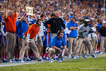 The Florida Gators coaching staff watches on from the sideline.  Florida Gators vs LSU Tigers.  October 11th, 2014. Gator Country photo by David Bowie.