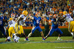 Florida Gators quarterback Jeff Driskel throws toward the sideline during the fourth quarter.  Florida Gators vs LSU Tigers.  October 11th, 2014. Gator Country photo by David Bowie.
