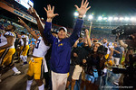LSU Tigers head coach Les Miles and the LSU Tigers celebrate after their 30-27 win.  Florida Gators vs LSU Tigers.  October 11th, 2014. Gator Country photo by David Bowie.