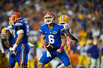Florida Gators quarterback Jeff Driskel shows he is fired up following a first down run in the first quarter.  Florida Gators vs LSU Tigers.  October 11th, 2014. Gator Country photo by David Bowie.