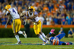 LSU Tigers safety Rickey Jefferson makes the interception late in the fourth quarter.  Florida Gators vs LSU Tigers.  October 11th, 2014. Gator Country photo by David Bowie.