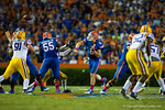 Florida Gators quarterback Jeff Driskel throws a swing pass toward the sideline during the third quarter.  Florida Gators vs LSU Tigers.  October 11th, 2014. Gator Country photo by David Bowie.