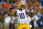 LSU Tigers quarterback Anthony Jennings throws downfield during the third quarter.  Florida Gators vs LSU Tigers.  October 11th, 2014. Gator Country photo by David Bowie.