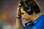 Florida Gators Head Coach Will Muschamp walks the sideline during the second quarter scratching his head.  Florida Gators vs LSU Tigers.  October 11th, 2014. Gator Country photo by David Bowie.