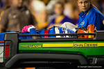 Florida Gators wide receiver Latroy Pittman gives the crod a thumbs up to signal he is ok as he is carted off the field.  Florida Gators vs LSU Tigers.  October 11th, 2014. Gator Country photo by David Bowie.