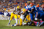 LSU Tigers running back Kenny Hilliard rushes into the endzoneduring the third quarter.  Florida Gators vs LSU Tigers.  October 11th, 2014. Gator Country photo by David Bowie.