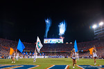 The night sky is lit up as the Florida Gators shoot off fireworks as the Gators take the field.  Florida Gators vs LSU Tigers.  October 11th, 2014. Gator Country photo by David Bowie.