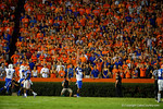 The Florida Gator fans react to the touchdown by Kentucky Wildcats wide receiver Garrett Johnson that put Kentucky up 10-6 in the second half.   Florida Gators vs Kentucky Wildcats.  September 13th, 2014. Gator Country photo by David Bowie.