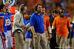 Florida Gators Head Coach Will Muschamp watches on from the sideline during the fourth quarter against the Kentucky Wildcats. Florida Gators vs Kentucky Wildcats.  September 13th, 2014. Gator Country photo by David Bowie.