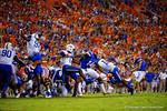 Florida Gators kicker Francisco Velez kicks in the field goal to put the Gators up 6-3  during the second half against the Kentucky Wildcats. Florida Gators vs Kentucky Wildcats.  September 13th, 2014. Gator Country photo by David Bowie.