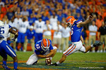 Florida Gators kicker Austin Hardin attempts a 51 yard field goal late in the fourth quarter to try and end the game before overtime.  Florida Gators vs Kentucky Wildcats.  September 13th, 2014. Gator Country photo by David Bowie.