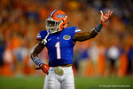 Florida Gators defensive back Vernon Hargreaves, III signals to the crowd to get loud before a third and short for Kentucky in the first half.  Florida Gators vs Kentucky Wildcats.  September 13th, 2014. Gator Country photo by David Bowie.