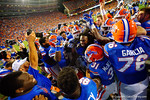 Florida Gators running back Matt Jones and the Florida Gators celebrate in the endzone following his touchdown to win in triple overtime versus the Kentucky Wildcats.  Florida Gators vs Kentucky Wildcats.  September 13th, 2014. Gator Country photo by David Bowie.