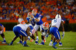 Florida Gators quarterback Jeff Driskel stands in the backfield calling out the play during the first half against the Kentucky Wildcats.  Florida Gators vs Kentucky Wildcats.  September 13th, 2014. Gator Country photo by David Bowie.