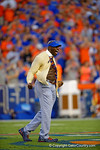 Former Florida Gators defensive lineman and WWE Superstar Thadeous Bullard rips open his shirt while performing the Mr. Two Bits skit before the start of the game.  Florida Gators vs Kentucky Wildcats.  September 13th, 2014. Gator Country photo by David Bowie.