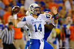 Kentucky Wildcats quarterback Patrick Towles throws downfield in the first half against the Florida Gators.  Florida Gators vs Kentucky Wildcats.  September 13th, 2014. Gator Country photo by David Bowie.