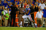 Florida Gators wide receiver Demarcus Robinson sprints down the sideline  during the second half against the Kentucky Wildcats. Florida Gators vs Kentucky Wildcats.  September 13th, 2014. Gator Country photo by David Bowie.