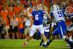 Florida Gators quarterback Jeff Driskel throws downfield in the first half against the Kentucky Wildcats.  Florida Gators vs Kentucky Wildcats.  September 13th, 2014. Gator Country photo by David Bowie.