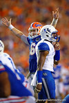 Florida Gators quarterback Jeff Driskel raises his hands into the air as the Florida Gators win in triple overtime versus the Kentucky Wildcats.  Florida Gators vs Kentucky Wildcats.  September 13th, 2014. Gator Country photo by David Bowie.