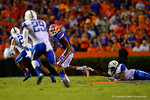 Florida Gators wide receiver Demarcus Robinson makes the reception and sprints for a first down after having his pants pulled down in the first half.  Florida Gators vs Kentucky Wildcats.  September 13th, 2014. Gator Country photo by David Bowie.