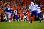 Florida Gators defensive back Brian Poole sprints upfield after making an interception during the second half against the Kentucky Wildcats.  Florida Gators vs Kentucky Wildcats.  September 13th, 2014. Gator Country photo by David Bowie.