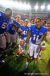 Florida Gators wide receiver Demarcus Robinson dances for his teammates following their win in triple overtime versus the Kentucky Wildcats.  Florida Gators vs Kentucky Wildcats.  September 13th, 2014. Gator Country photo by David Bowie.
