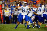 Kentucky Wildcats quarterback Patrick Towles throws downfield in the fourth quarter against the Florida Gators.  Florida Gators vs Kentucky Wildcats.  September 13th, 2014. Gator Country photo by David Bowie.