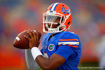 Florida Gators quarterback Treon Harris throwing during a warm up drill before the start of the game.  Florida Gators vs Kentucky Wildcats.  September 13th, 2014. Gator Country photo by David Bowie.