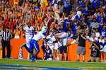 Florida Gators wide receiver Demarcus Robinson leaps into the air to catch the touchdown on 4th and 7 in the first overtime after a dispute whether the play clock ran to zero.  Florida Gators vs Kentucky Wildcats.  September 13th, 2014. Gator Country photo by David Bowie.