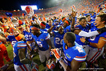 The Florida Gators celebrate following their win in triple overtime versus the Kentucky Wildcats.  Florida Gators vs Kentucky Wildcats.  September 13th, 2014. Gator Country photo by David Bowie.