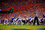 Kentucky Wildcats kicker Austin McGinnis lines up for a field goal attempt during the second overtime versus the Florida Gators.  Florida Gators vs Kentucky Wildcats.  September 13th, 2014. Gator Country photo by David Bowie.
