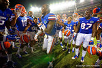 Florida Gators defensive back Jabari Gorman dances for his teammates following their win in triple overtime versus the Kentucky Wildcats.  Florida Gators vs Kentucky Wildcats.  September 13th, 2014. Gator Country photo by David Bowie.