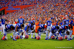 The Florida Gators take a knee and say a prayer prior to the start of the game.  Florida Gators vs Kentucky Wildcats.  September 13th, 2014. Gator Country photo by David Bowie.